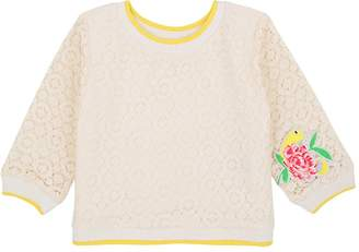 Billieblush KIDS' APPLIQUÉD CROCHETED-LACE SWEATER