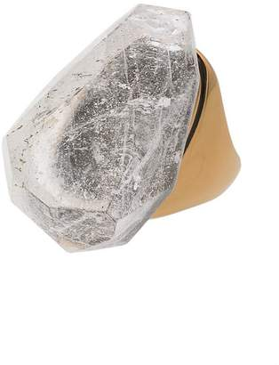 Alexander McQueen gold metallic crystal stone ring