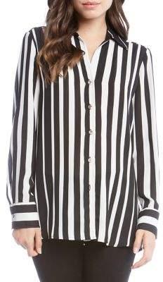Karen Kane Stripe Side-Slit Sheer Button-Down Shirt