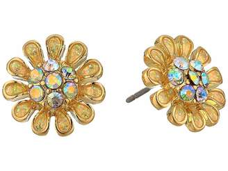 Betsey Johnson Blue by Yellow and Gold Tone Flower Stud Earrings