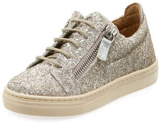 Giuseppe Zanotti Glittered Low-Top Double Zip Sneakers, Toddler