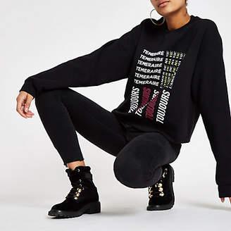 River Island Black 'Toujours' print raw hem sweatshirt