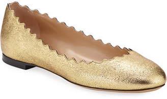 Chloé Lauren Scalloped Metallic Leather Ballet Flats