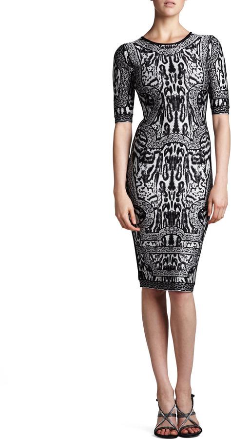 Herve Leger Combo Printed Half-Sleeve Dress