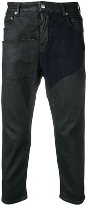 Rick Owens panelled cropped jeans
