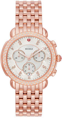 Michele 38mm Sidney Diamond Chronograph Watch, Rose Gold