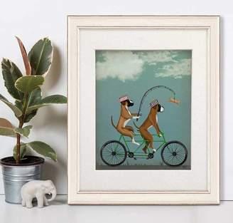 FabFunky Home Decor Boxer Dogs On Tandem, Art Print