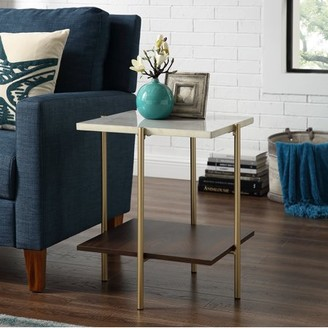 Mid-Century MODERN Manor Park 20 Square Side Table - Marble/Gold