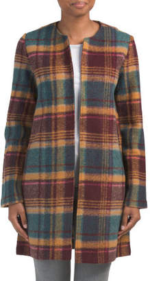 Wool Blend Retro Plaid Open Coat