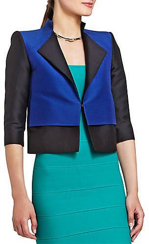 BCBGMAXAZRIA Pierce Cropped Color-Blocked Jacket