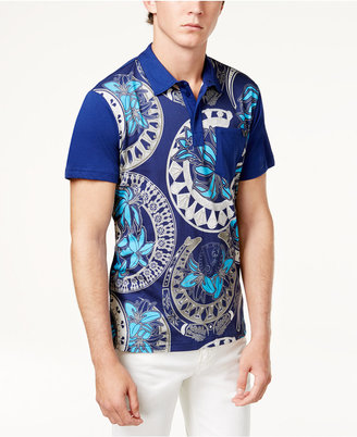 Versace Men's Graphic Print Cotton Polo $195 thestylecure.com