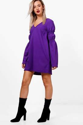 boohoo Shirring Balloon Sleeve Shift Dress
