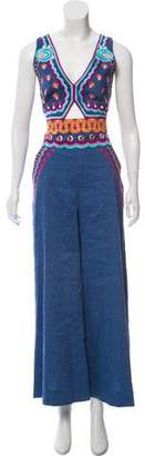 Temperley London Embroidered Wide-Leg Jumpsuit