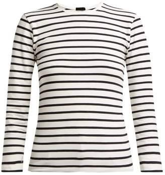 Atm - Striped Long Sleeve Cotton Blend Top - Womens - Black Stripe