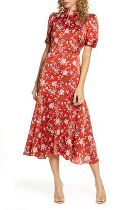 Chelsea28 Floral Satin Midi Dress