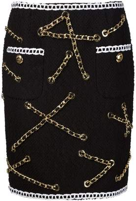 Moschino boucle chain trim skirt