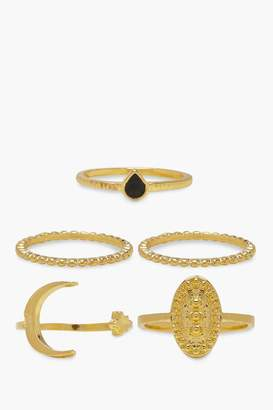 boohoo Moon Star & Sovereign Ring Pack