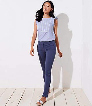 LOFT Petite Skinny Zip Pocket Sateen Pants