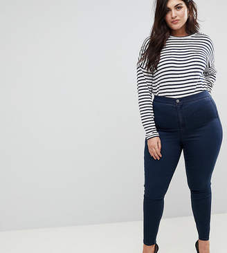 Asos DESIGN Curve Ridley high waist skinny jeans in blue black wash