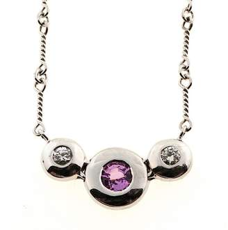 14K White Gold with 0.35ct Pink Sapphire & Diamond Vintage Pendant Necklace