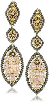 Miguel Ases Swarovski and Gold Bead Multi Marquis Drop Earrings