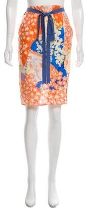 Blumarine Silk Printed Skirt