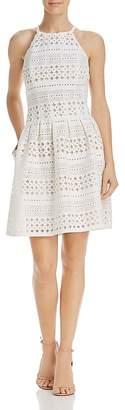 Eliza J Perforated Scuba Dress