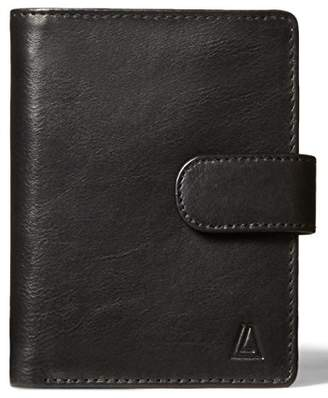 Leather Architect Men's 100% Leather RFID Blocking Bifold Tabbed Wallet with Fixed ID