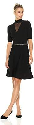 Rachel Roy Women's Beaded Waist Fit and Flare Sweater Dress