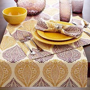Plum & Gold Batik Leaf Collection