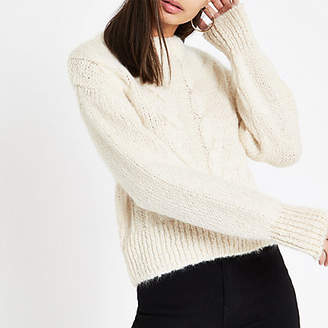 River Island Cream cable knit crew neck sweater