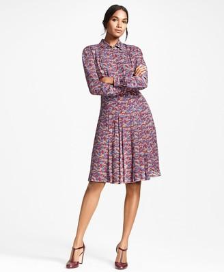 Brooks Brothers Deer-Print Silk Chiffon Shirt Dress