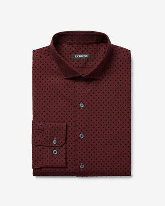 Express Slim Flocked Dot Cotton Dress Shirt