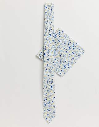 Asos Design DESIGN Wedding slim tie and pocket square pack in ditsy floral