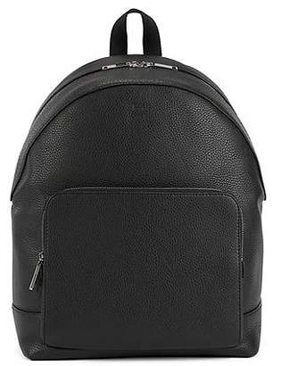 HUGO BOSS Backpack in grainy Italian leather with two-way zip
