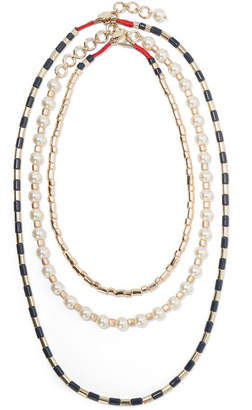 Roxanne Assoulin - Suit Up Set Of Three Gold-tone, Enamel And Faux Pearl Necklaces