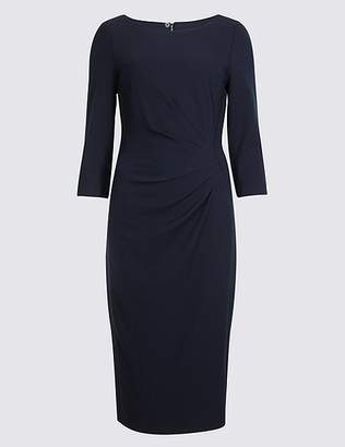 Marks and Spencer Drape 3/4 Sleeve Shift Midi Dress