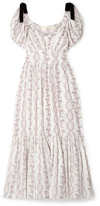 LoveShackFancy Angie Floral-print Swiss-dot Cotton-gauze Dress - White