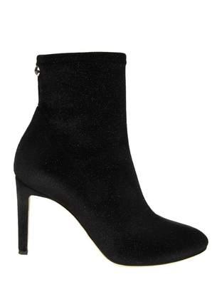 Giuseppe Zanotti Ankle Boots In Velvety Fabric Elasticized Glitter Eff