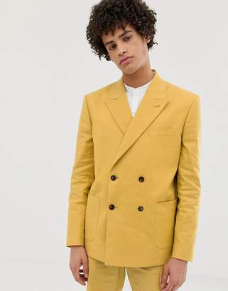 Asos Design DESIGN boxy double breasted suit jacket in mustard linen
