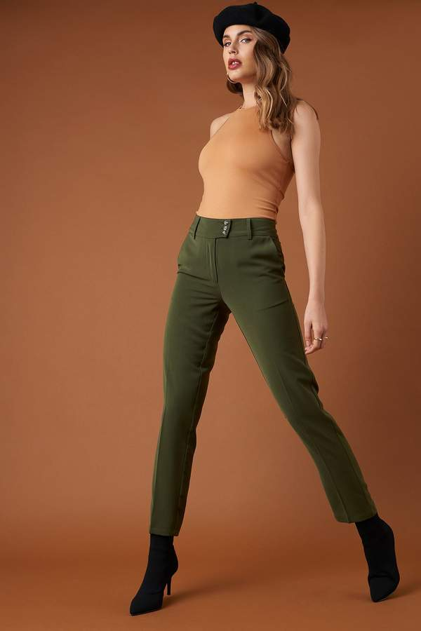 Button Detailed Creased Suit Pants Khaki Green