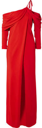 Monse One-shoulder Draped Stretch-cady Top - Red