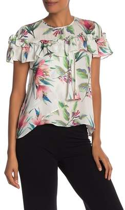 Nicole Miller Short Sleeve Floral Print Ruffle Silk Blouse