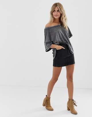 Free People She's All That denim mini skirt