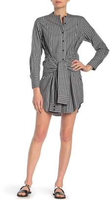 abe8f3477ea937 Derek Lam 10 Crosby Stripe Collarless Tie Waist Shirt Dress