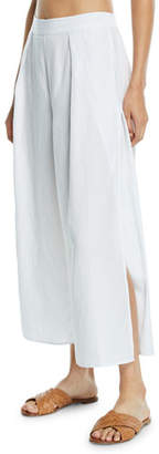 Seafolly Linen-Blend Split-Leg Coverup Pants