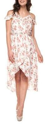 Dex Floral Cold-Shoulder Hi-Lo Dress