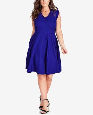 City Chic Trendy Plus Size Lace-Yoke Fit & Flare Dress
