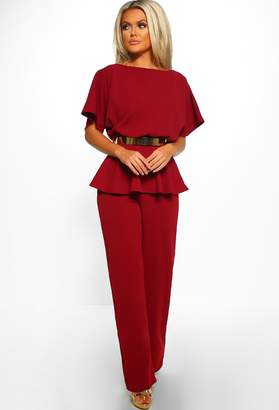 623ffe7fec8 Pink Boutique On The Money Burgundy Belted Wide Leg Peplum Jumpsuit