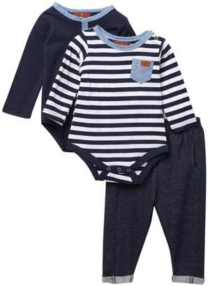 7 For All Mankind 2 Bodysuits & Pants Set (Baby Boys)
